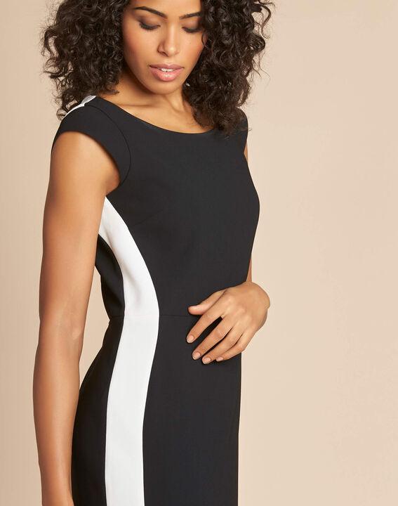 Abricot black straight-cut crepe dress (4) - 1-2-3