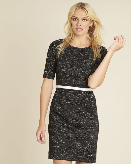 Danielle Milano black dress with belt (2) - 1-2-3