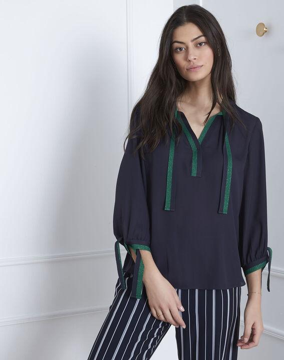 Marineblauwe blouse met contrasterende details Vicky (1) - Maison 123