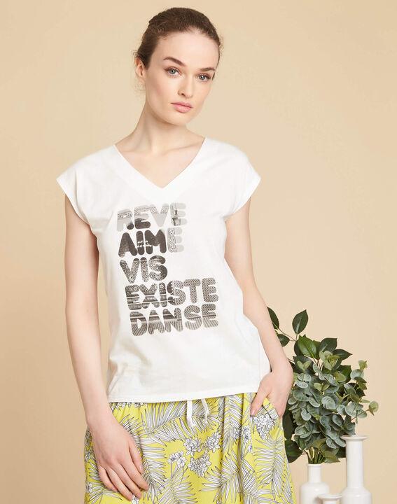 Ecru T-shirt met zeefdruk Elist (3) - 37653