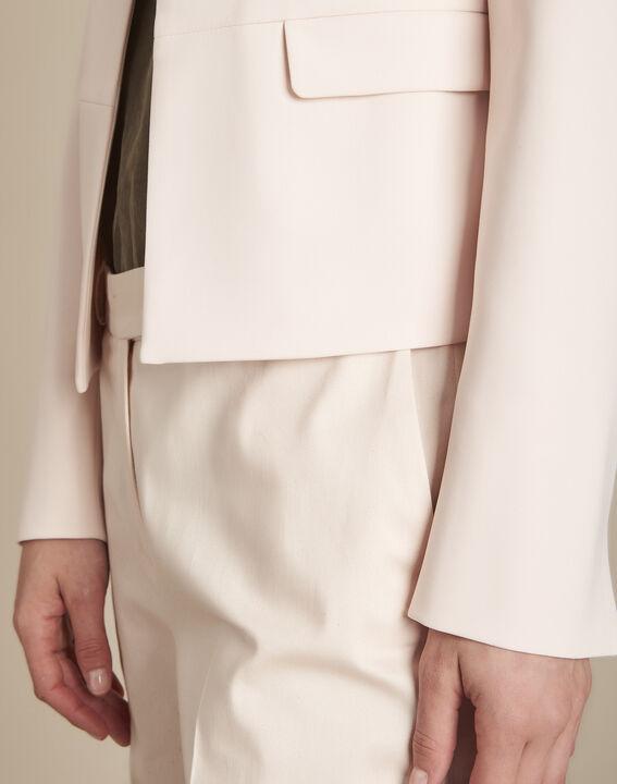 Puderfarbene Jacke aus Mikrofaser mit Pattentaschen Charme (3) - Maison 123