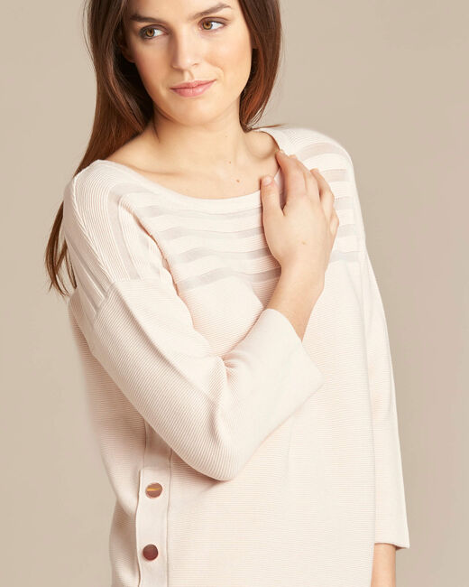 Hypnose pale pink sweater with sheer stripes (2) - 1-2-3