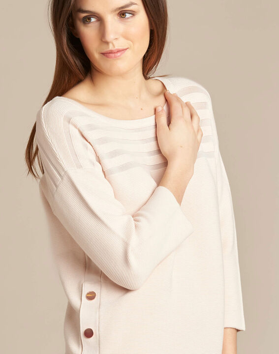 Hypnose pale pink sweater with sheer stripes (1) - 1-2-3