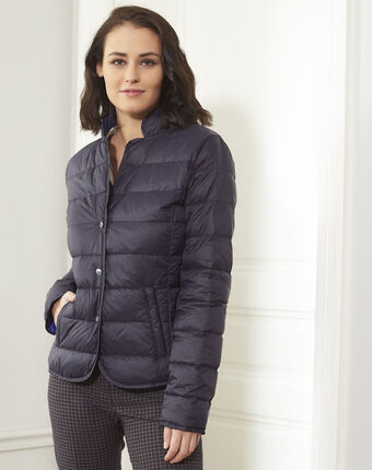 Penny short navy down jacket with beige lining navy.
