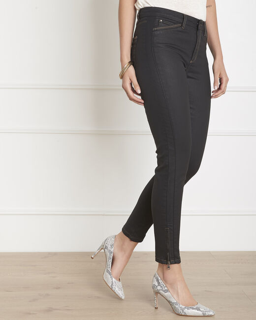 Opera 7/8 length coated black slim-cut jeans (2) - 1-2-3