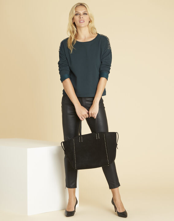 Donkergroene sweater met sieraaddetails aan de schouders Glow (2) - 37653