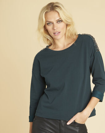 Glow dark green sweater with jewelled detailing on the shoulders forest green.