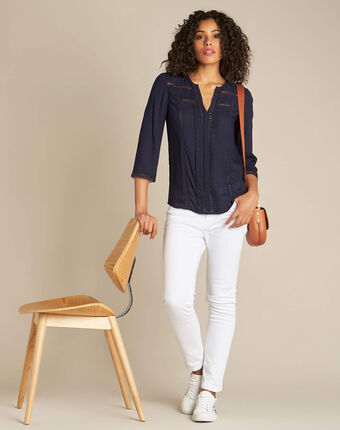 Graziella navy blue blouse with guipure detailing navy.