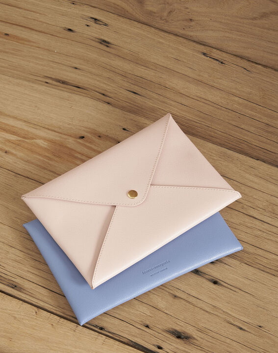 Enveloppe bleu ciel cuir recyclé Shibuya PhotoZ | 1-2-3