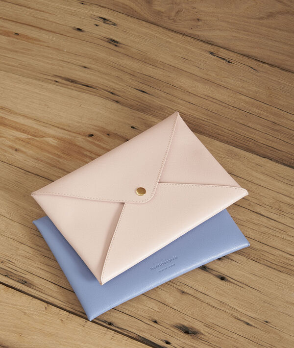Hemelsblauw enveloptasje van gerecycleerd leder Shibuya PhotoZ | 1-2-3