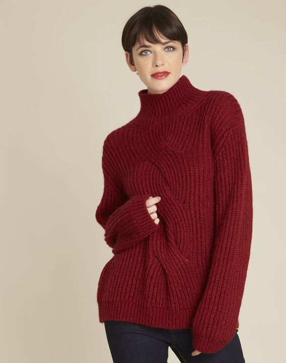 Pull rouge col montant torsade mohair Barca PhotoZ | 1-2-3