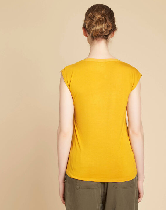Bianca yellow T-shirt with rounded coated neckline (4) - 1-2-3