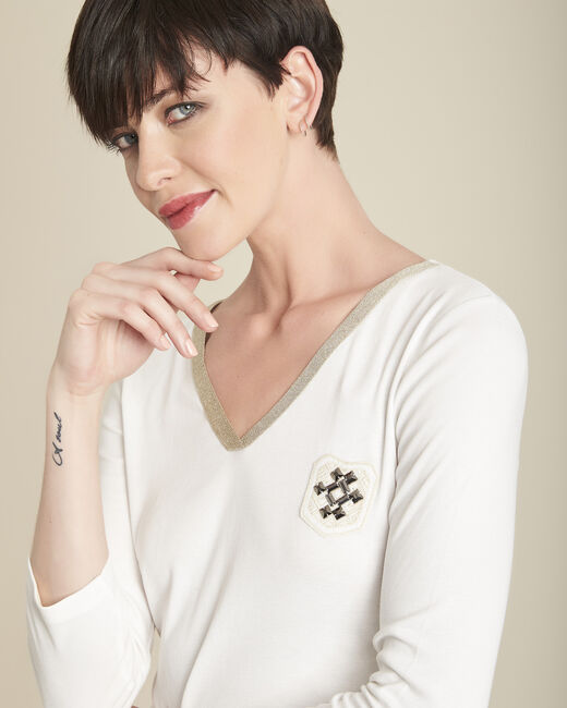 Tee-shirt écru col V plastron Glaive (1) - 1-2-3