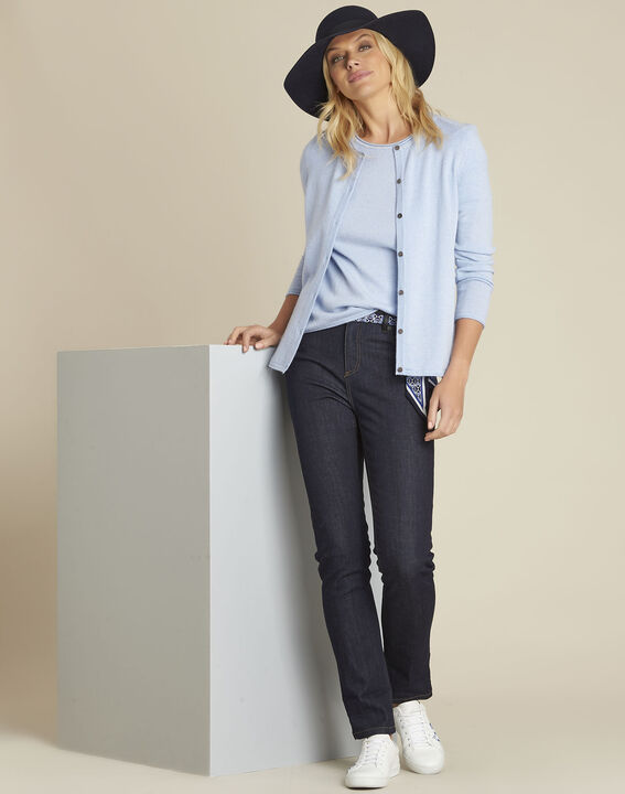 Ballerine azure blue wool cashmere cardigan (2) - Maison 123