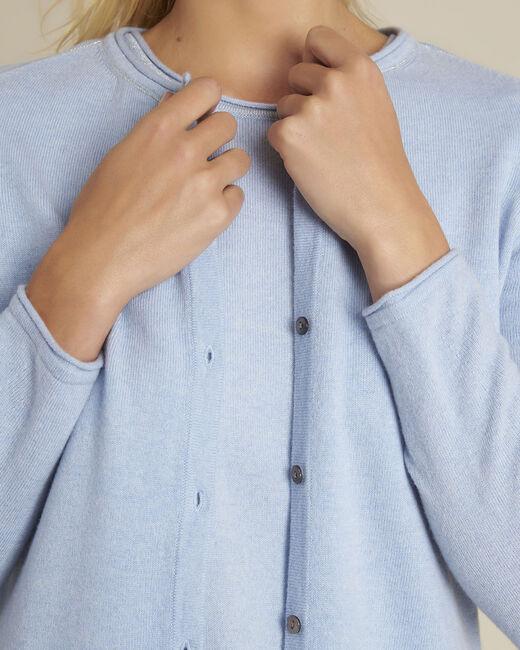 Gilet bleu azur laine cachemire Ballerine (2) - 1-2-3