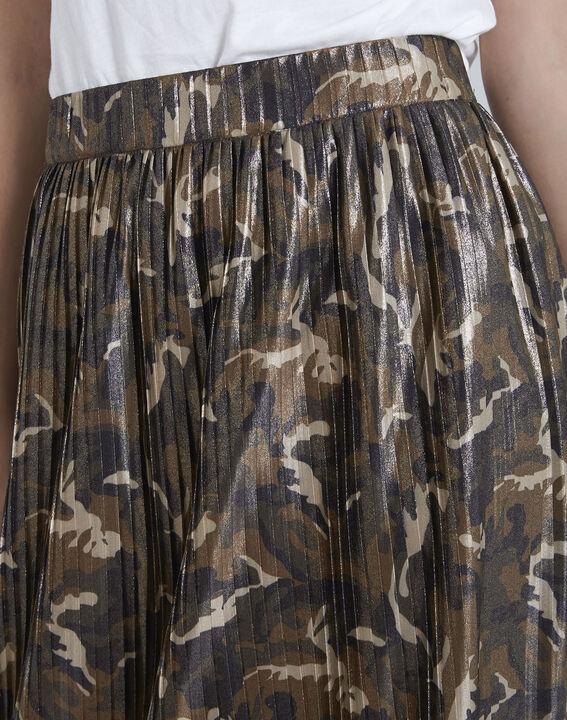 Jupe kaki plissée imprimé camouflage Sable PhotoZ | 1-2-3