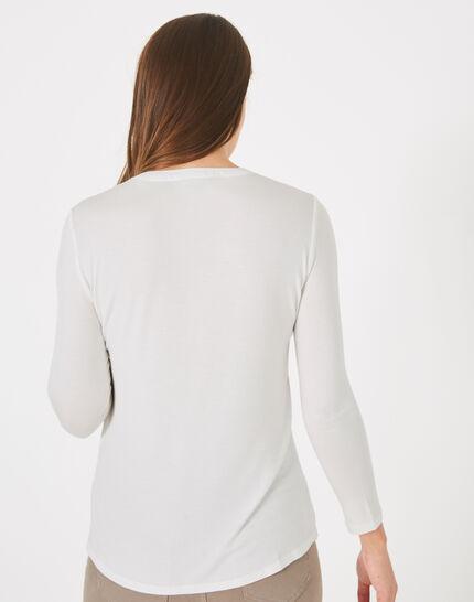Tee-shirt écru bi-matière Leden (4) - 1-2-3
