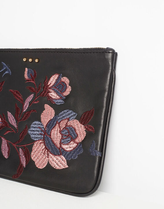 Delly embroidered clutch with black leather straps (4) - 1-2-3