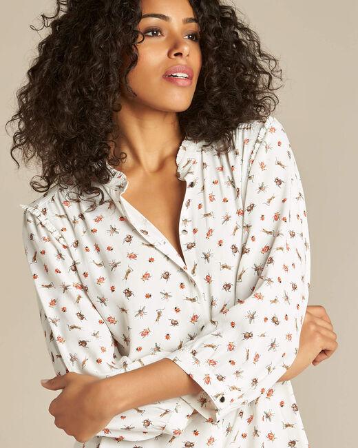 Ecru overhemd met keverprint Grillon (2) - 37653