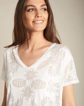 Ecrufarbenes t-shirt mit palmenprint eflore ecru.