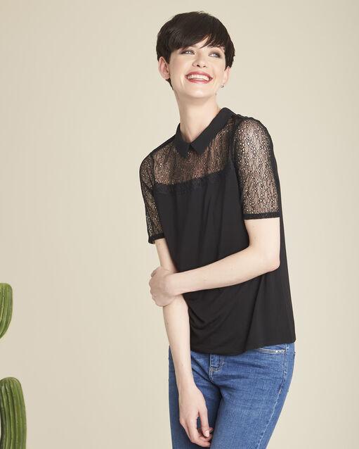 Tee-shirt noir col claudine en dentelle Game (1) - 1-2-3