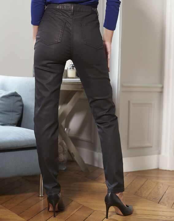 Schwarze beschichtete 7/8-Jeans Vendome (4) - 1-2-3