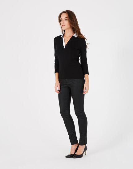 Tee-shirt noir col chemisier Bowling (1) - 1-2-3