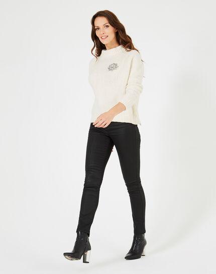 Ecrufarbener Pullover aus grobmaschigem Strick Nappa (3) - 1-2-3
