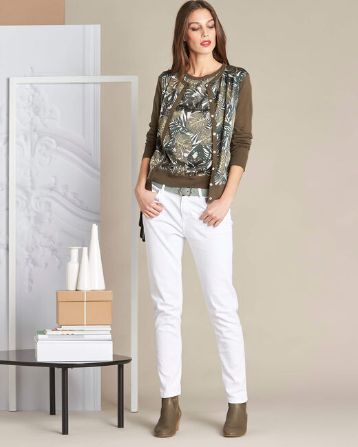 Natura dual-fabric khaki sweater with leaf print (1) - 1-2-3