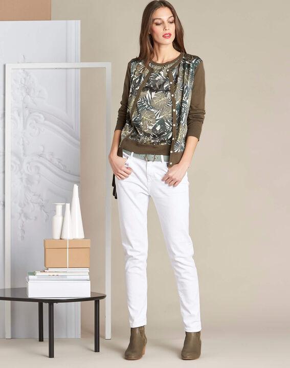 Natura dual-fabric khaki sweater with leaf print (2) - 1-2-3