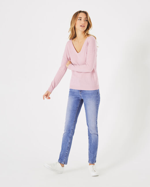 Piment pink cashmere sweater with V-neck (2) - 1-2-3