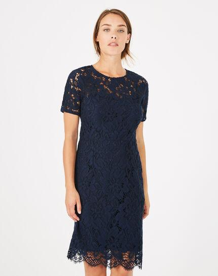 robe bleu marine dentelle gilda 123