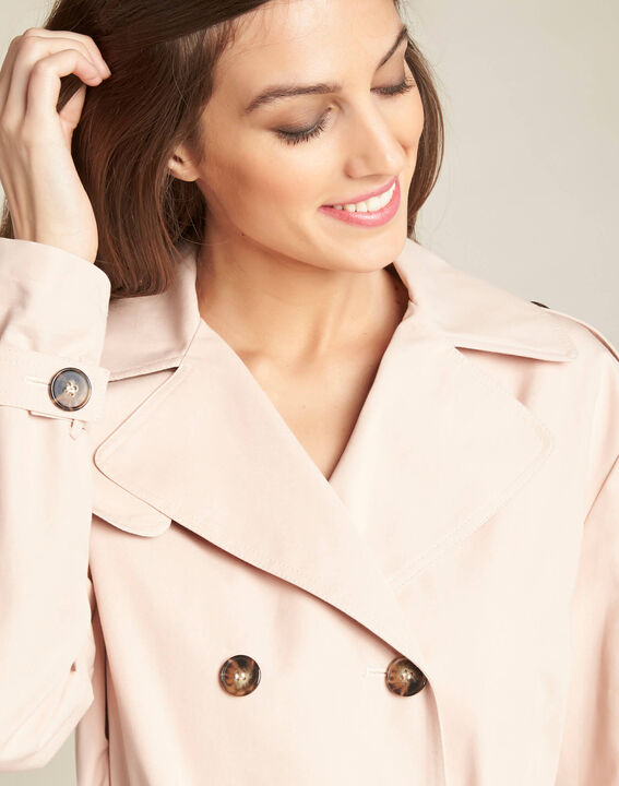 Klaudine double-breasted pink trench coat PhotoZ | 1-2-3
