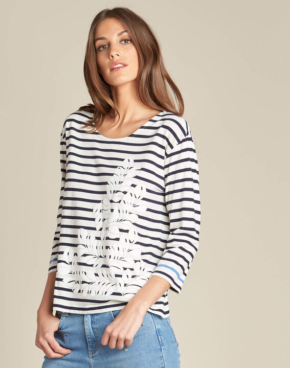 Emerine striped printed T-shirt with 3/4 length sleeves (3) - 1-2-3
