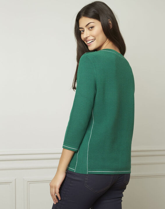 Avocado green pullover with buttons and lurex details (3) - Maison 123