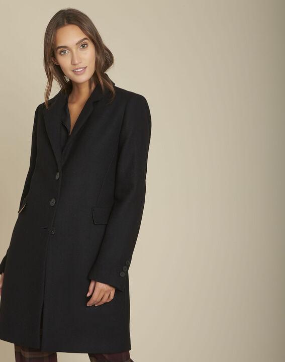 Manteau droit en laine noir Plume PhotoZ | 1-2-3