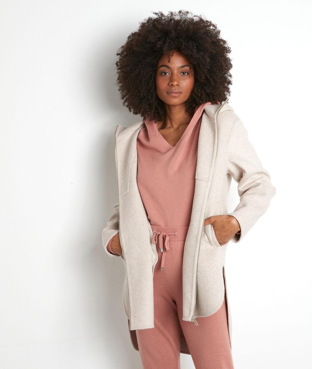 Manteau à capuche long asymétrique beige Liv PhotoZ   1-2-3