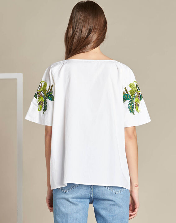 Grace white blouse with embroidered leaves. (4) - 1-2-3