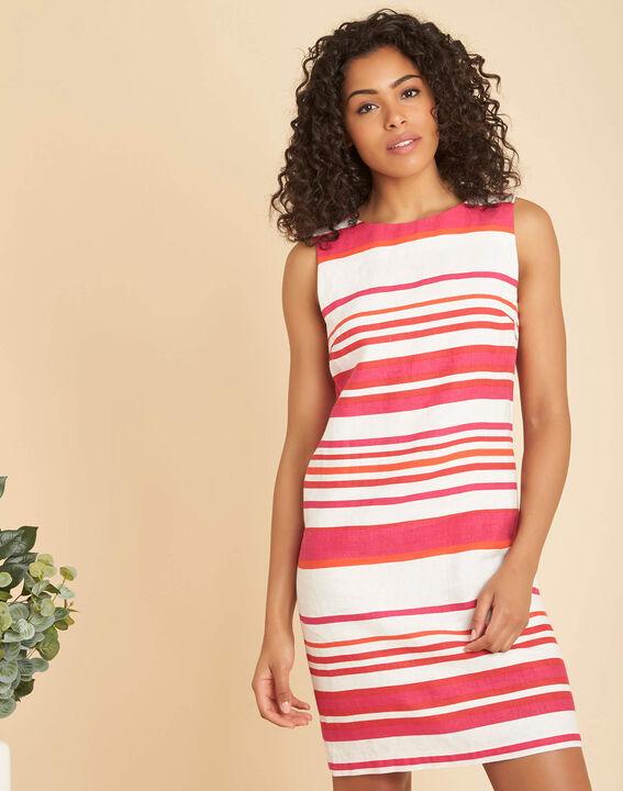 Berangere striped fuchsia linen dress (3) - 1-2-3