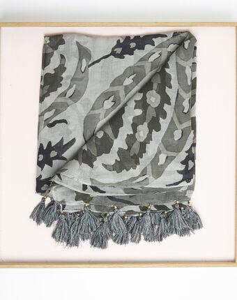 Foulard kaki à franges en modal fama feuille.