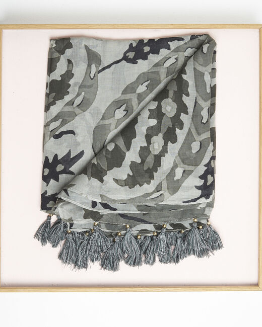 Foulard kaki à franges en modal Fama (1) - 1-2-3