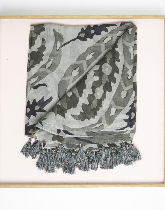 Kaki sjaal met franjes van modaal Fama (3) - 37653