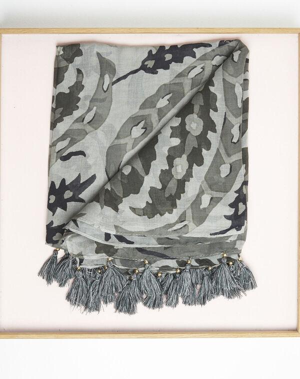 Kaki sjaal met franjes van modaal Fama (1) - 37653