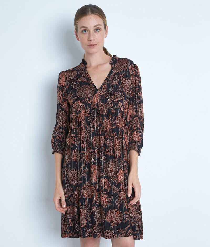 Robe courte imprimée noir et orange Lais PhotoZ | 1-2-3