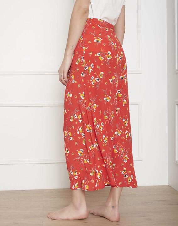 Jupe rouge longue imprimé fleuri Saya (4) - Maison 123