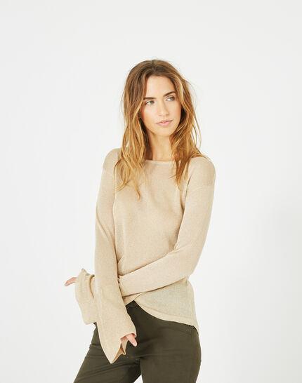 Goldener glänzender Pullover mit Trompetenärmeln Pagode (5) - 1-2-3