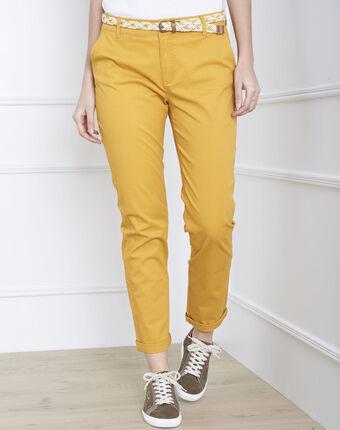 Pantalon jaune chino ceinture fantaisie francis bouton d`or.