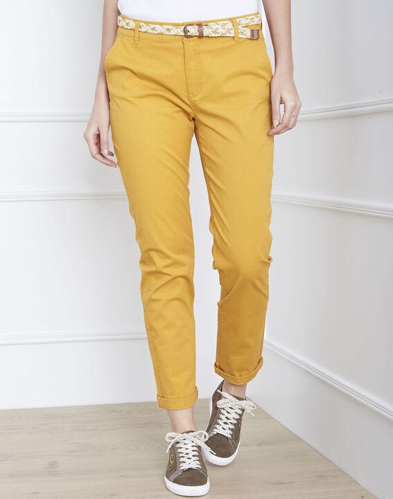 Pantalon jaune chino ceinture fantaisie Francis (1) - Maison 123
