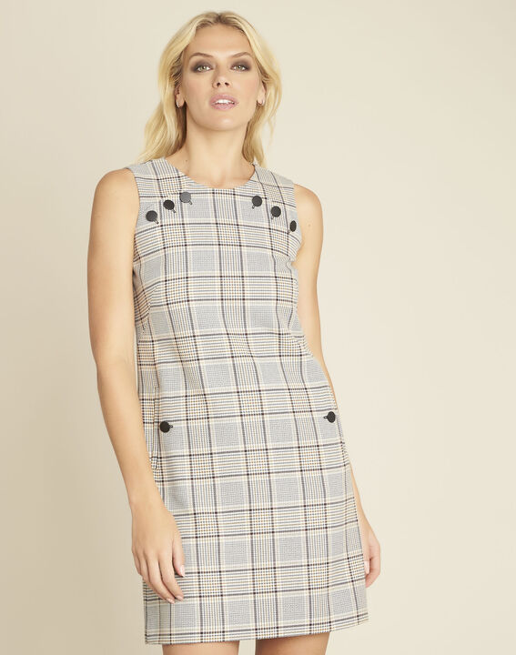 Dakar straight-cut check printed dress with buttons (1) - 1-2-3
