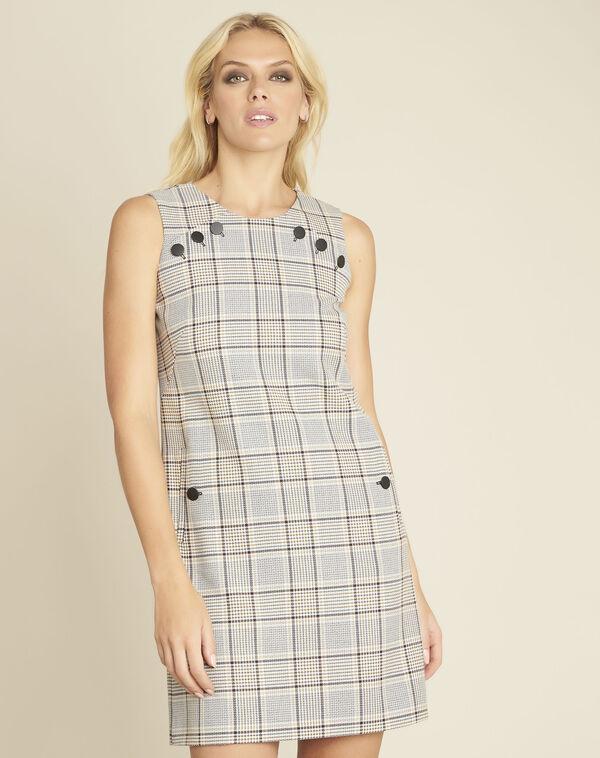 Rechte jurk met ruitjesprint en knopendetails Dakar (1) - 37653